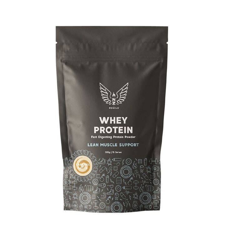 NZ Muscle Whey Protein Caramel Latte 500g, , hi-res