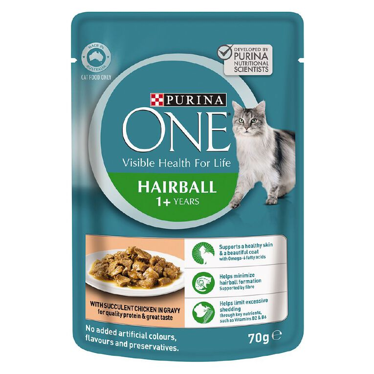 Purina ONE Cat Pouch Hairball Formula 70g, , hi-res