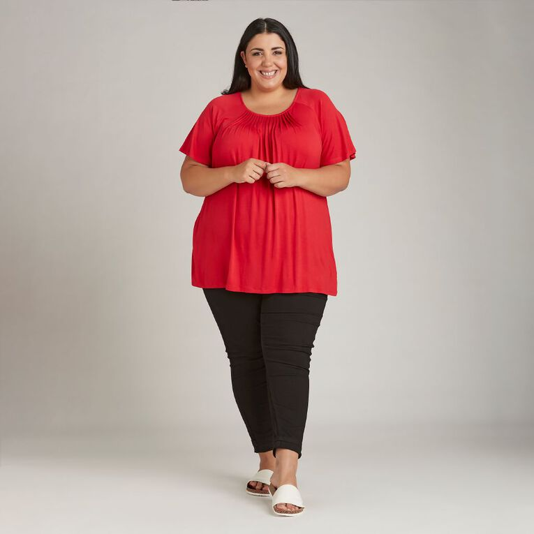 H&H Plus Women's Gather Neck Top, Red, hi-res image number null