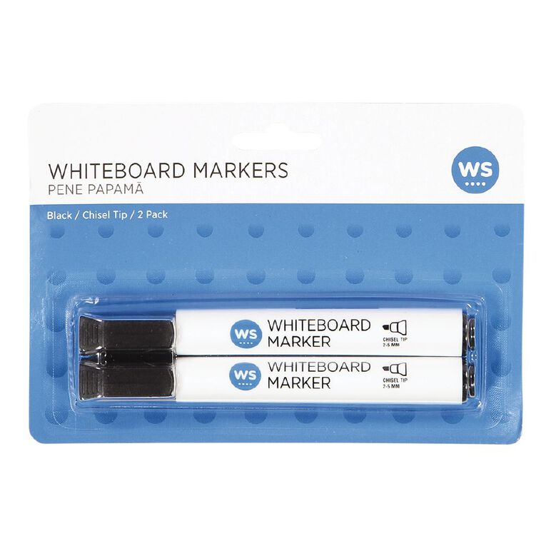 WS Whiteboard Markers Chisel 2 Pack Black, , hi-res