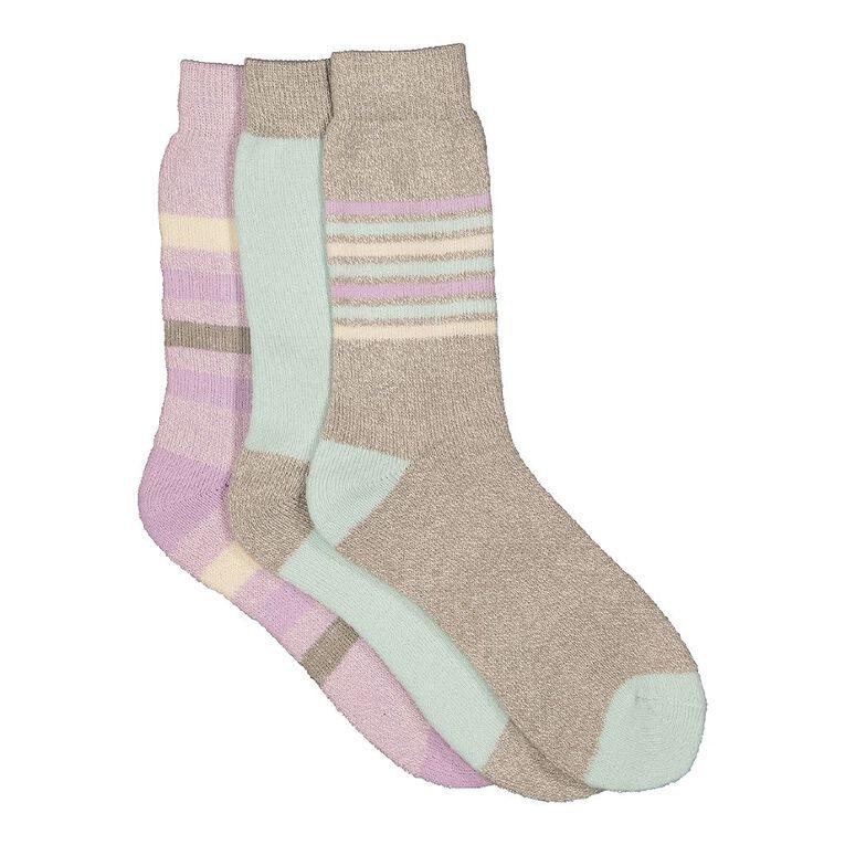 H&H Women's Thermal Socks 3 Pack, Green Mid, hi-res