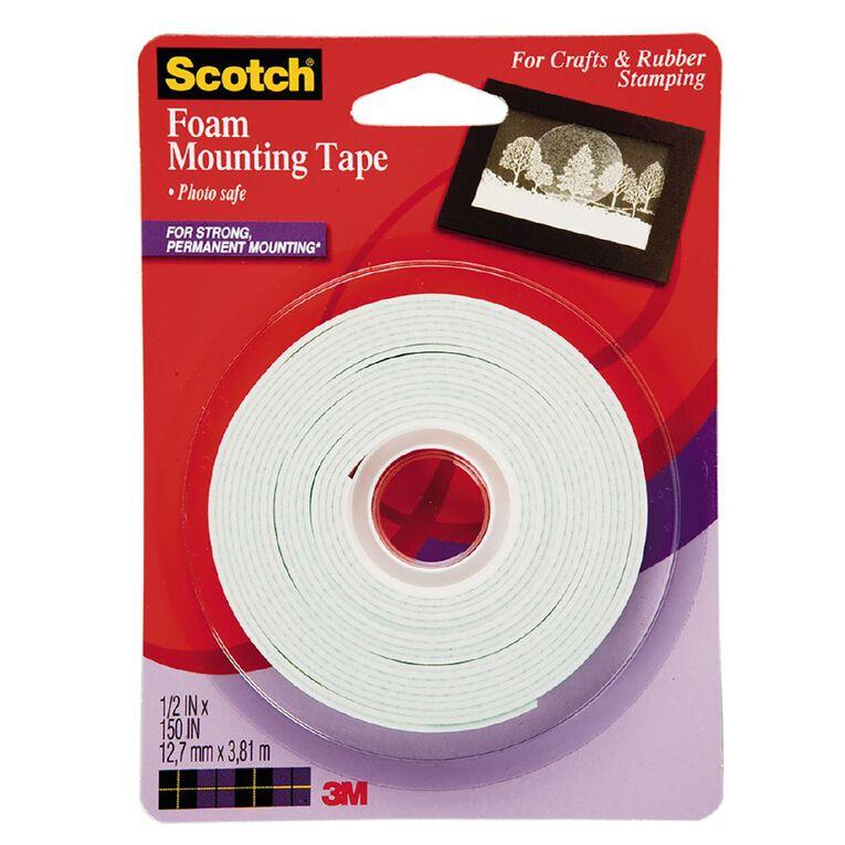 Scotch Foam Mounting Tape 12mm x 3.8m Clear, , hi-res