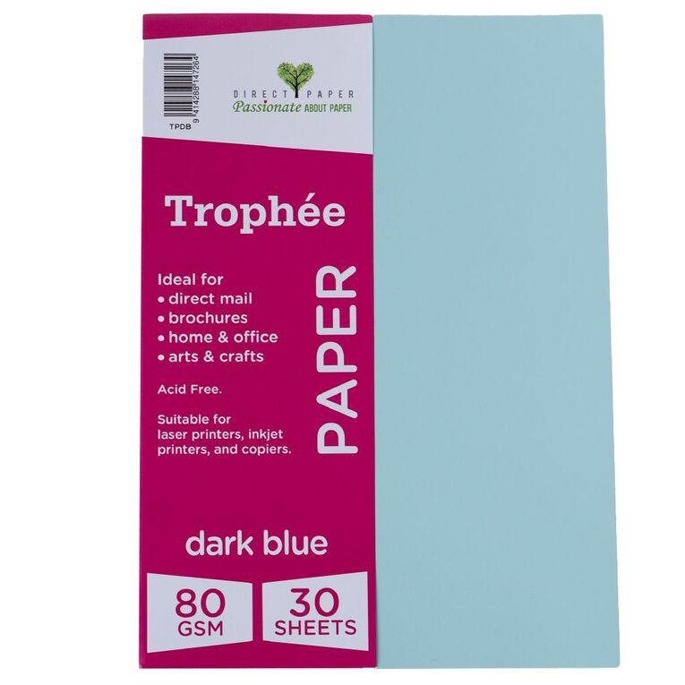 Trophee Paper 80gsm 30 Pack Blue Dark A4, , hi-res