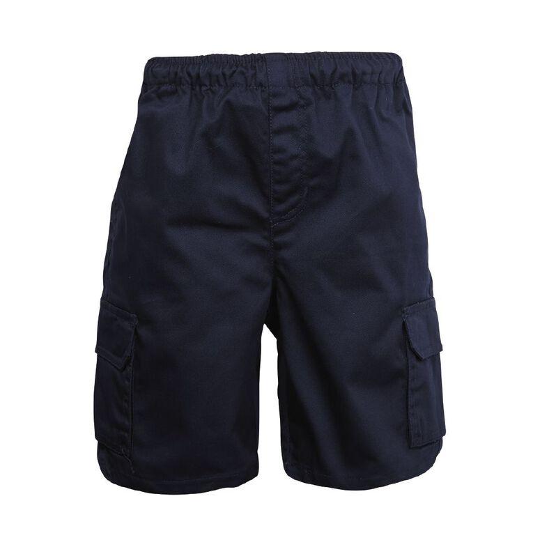 Schooltex Drill Cargo Pocket Shorts, Navy, hi-res