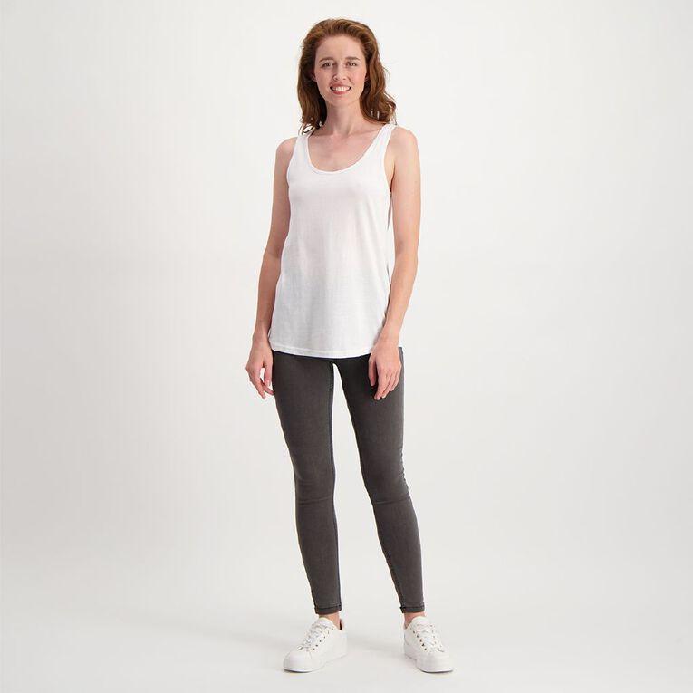 H&H Women's Fashion Scoop Singlet, White, hi-res