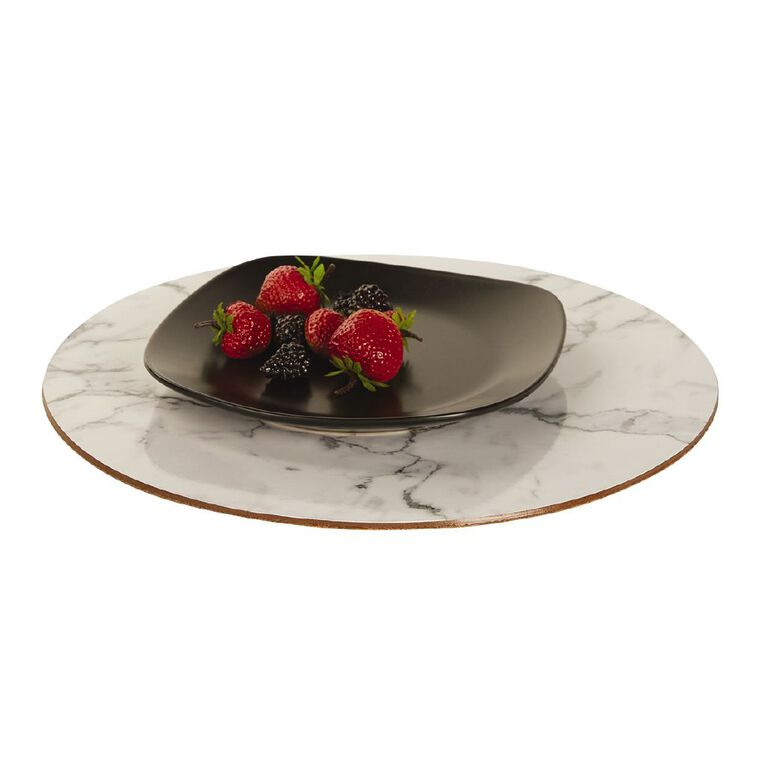 Living & Co Printed Placemat Marble Round 33cm, , hi-res