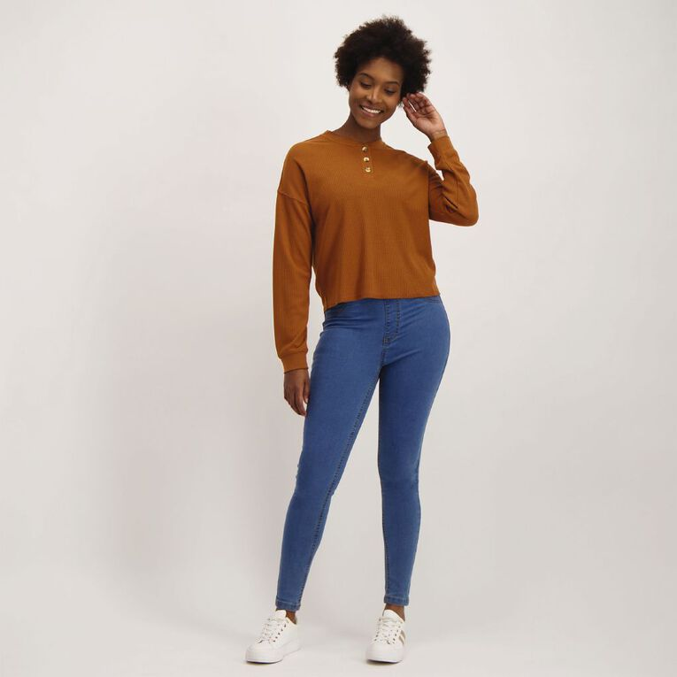 H&H Women's Loose Waffle Henley, Brown Light, hi-res image number null