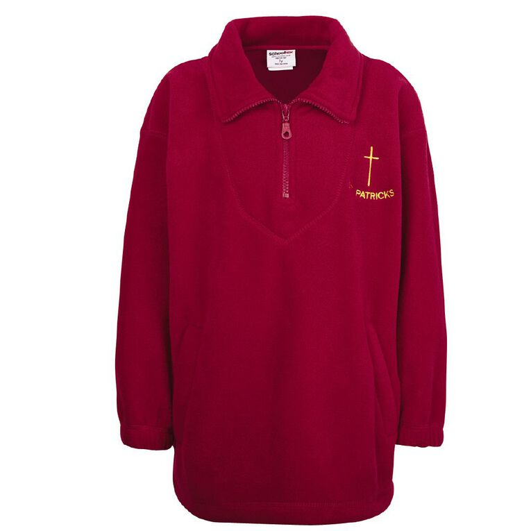 Schooltex St Patrick's Invercargill Polar Fleece Top with Embroidery, Red, hi-res
