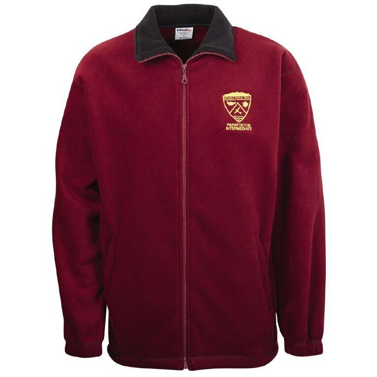 Schooltex Papatoetoe Intermediate Polar Fleece Jacket with Embroidery, Burgundy, hi-res