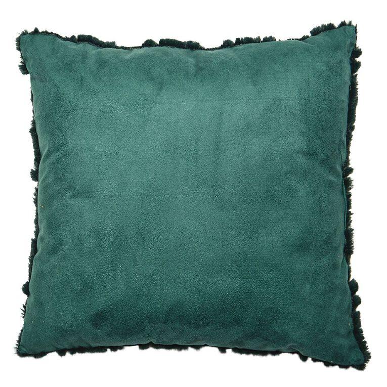 Living & Co Carved Fleece Cushion Botanical Green 40cm x 40cm, Green, hi-res