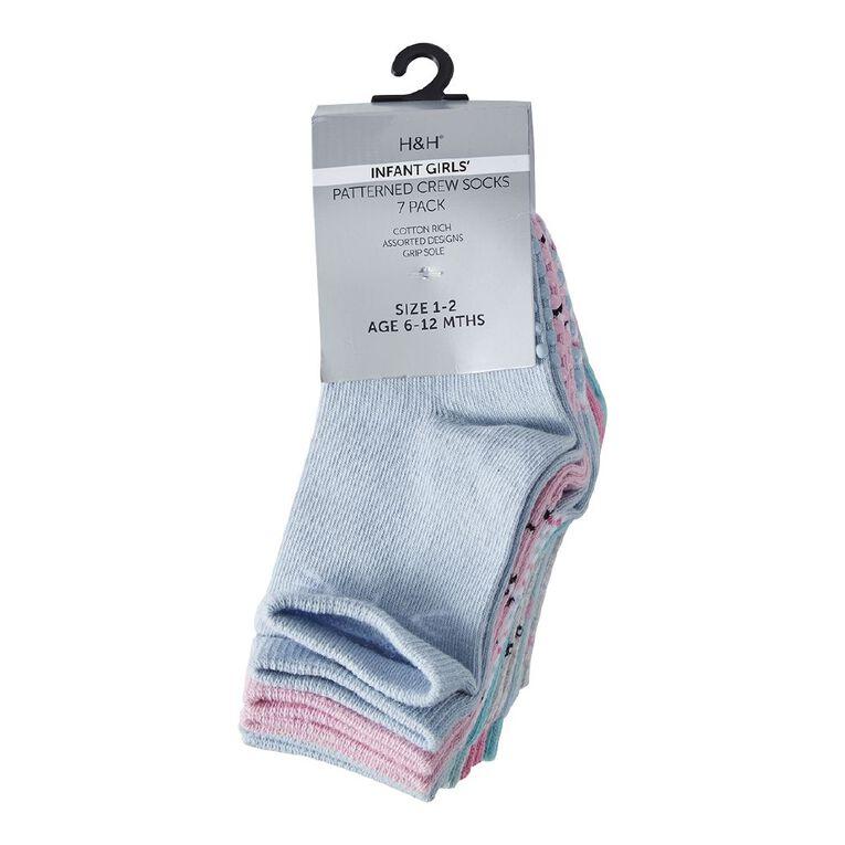 H&H Infant Girls' Crew Socks 7 Pack, Blue Light, hi-res