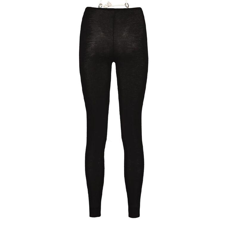 H&H Women's 100% Merino Wool Long John Thermal, Black, hi-res