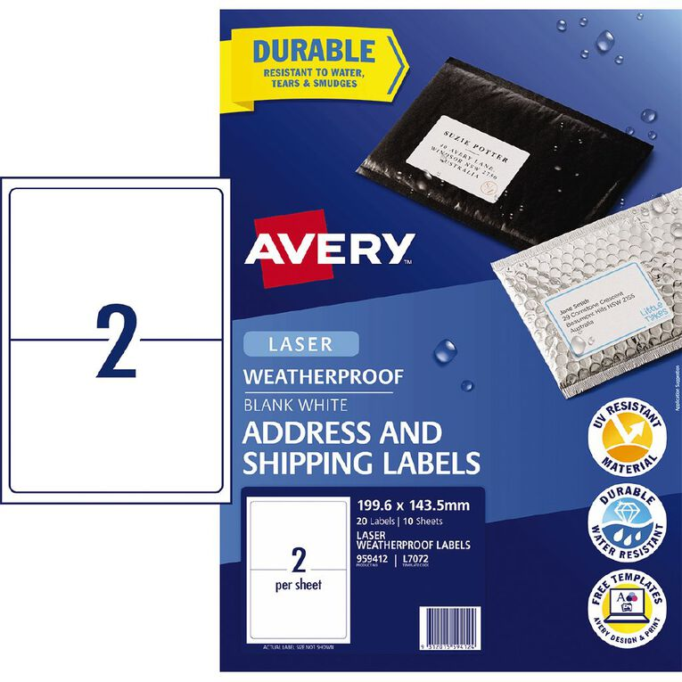 Avery Weatherproof Shipping Labels Laser Printers 199.6x143.5mm 20Labels, , hi-res