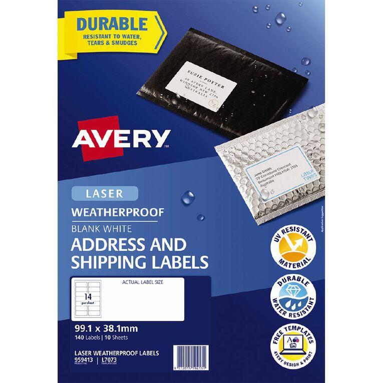 Avery Weatherproof Address Labels Laser Printers 99.1x38.1mm 140 Labels, , hi-res