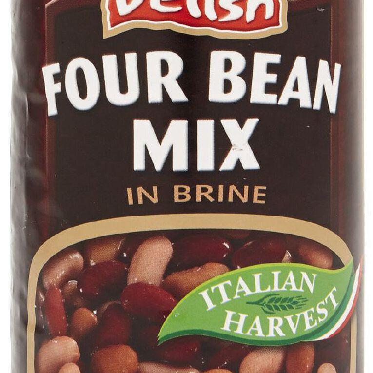 Delish Four Bean Mix in Brine 400g, , hi-res