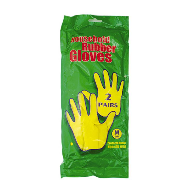 Maxcare Rubber Gloves Yellow 2 Pack Assorted, , hi-res