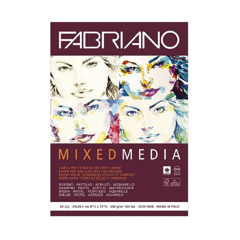 Fabriano Mixed Media Art Pad 250GSM 40 Sheets A4, , hi-res