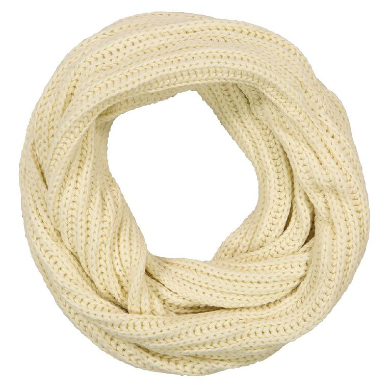 H&H Women's Chunky Rib Snood, Cream, hi-res image number null