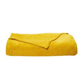 Living & Co Blanket Coral Fleece Jacquard Manuka Yellow Queen