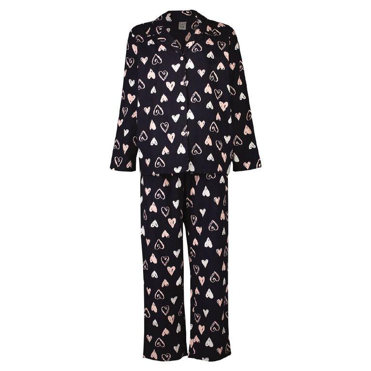 H&H Women's Flannelette Pyjamas Set, Navy, hi-res