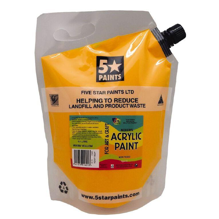 Fivestar Acrylic Paint Warm Yellow 1.5 litre Pouch, , hi-res