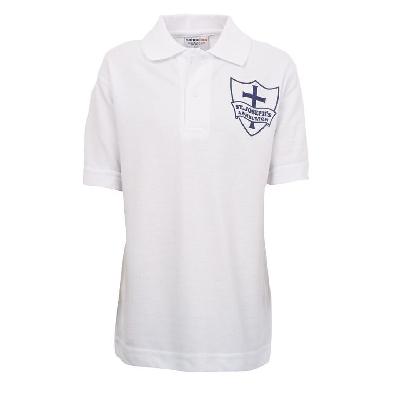 Schooltex St Joseph's Ashburton Short Sleeve Polo with Transfer, White, hi-res