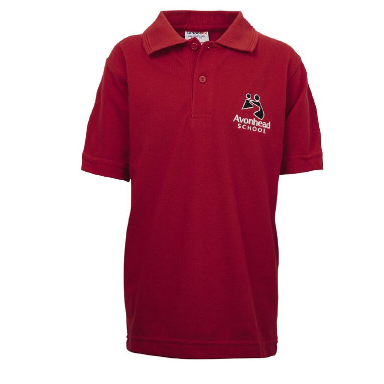 Schooltex Avonhead Short Sleeve Polo with Embroidery, Red, hi-res