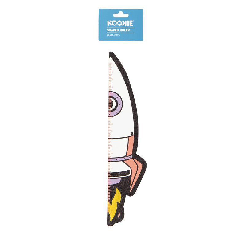 Kookie Space Shaped Ruler White 20cm, , hi-res