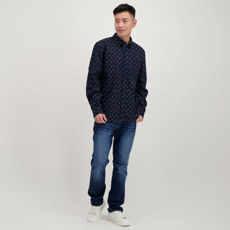 H&H Men's Long Sleeve All Over Print Shirt, Navy, hi-res