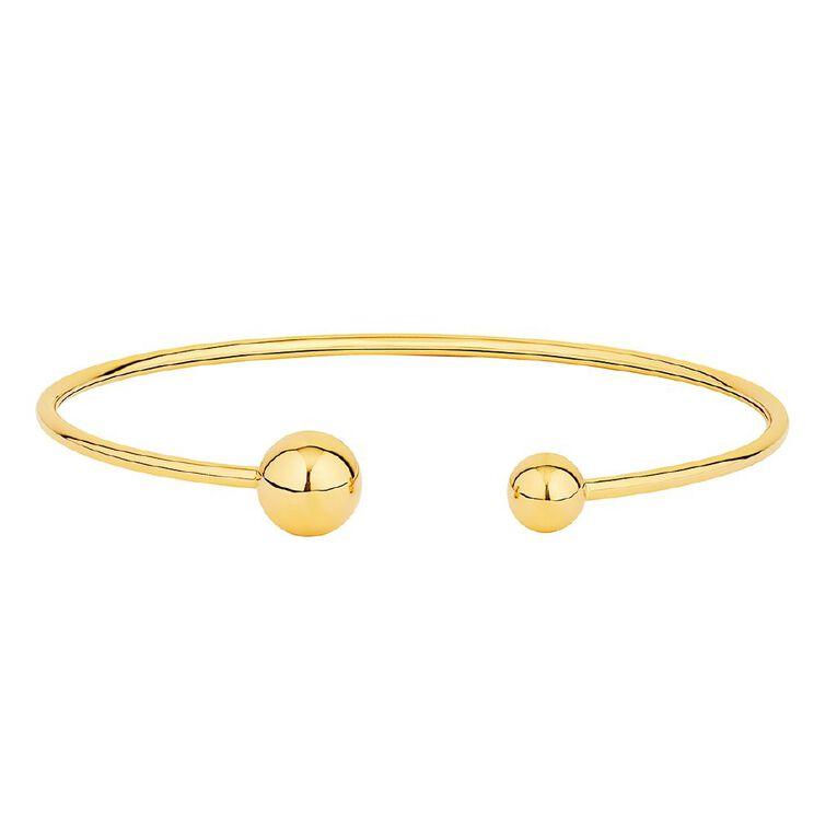 9ct Gold Wrap Bead Bangle, , hi-res