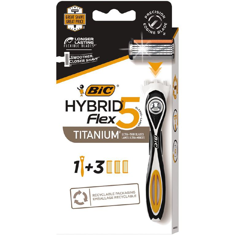 Bic Flex 5 Hybrid Men's 5-Blade Disposable Razor Black 3 Pack, , hi-res