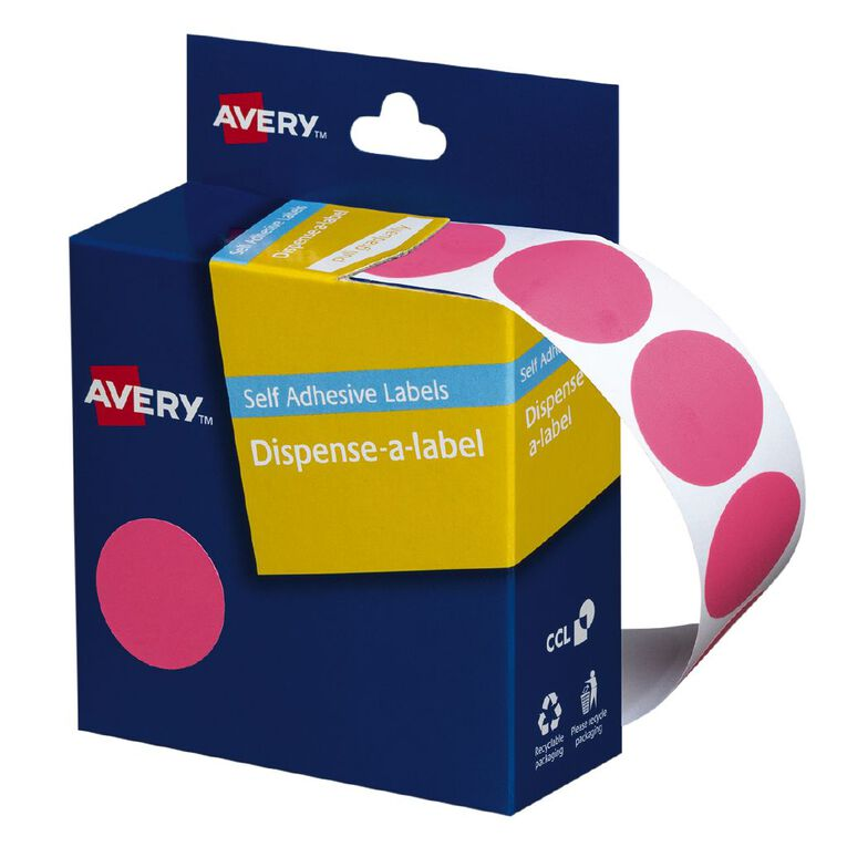 Avery Pink Dispenser Dot Stickers 24mm diameter 500 Labels, , hi-res