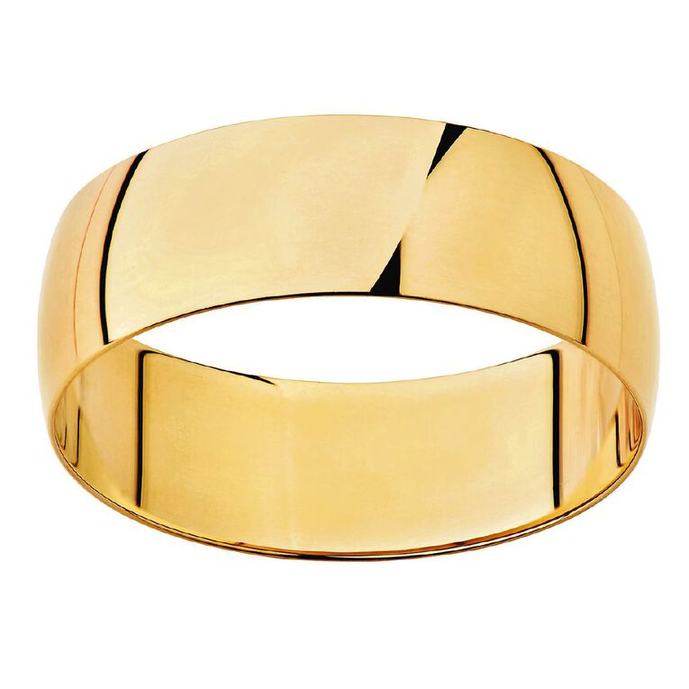 9ct Gold Half Round Wedding Ring, Yellow Gold, hi-res image number null