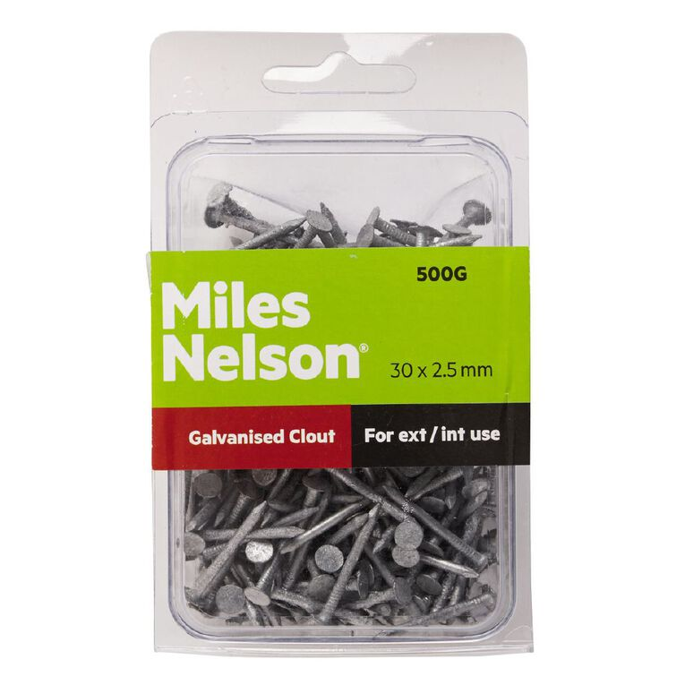 Miles Nelson Galvanised Clout Nails 30mm x 2.50mm, , hi-res