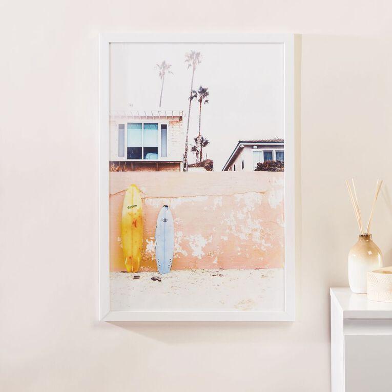 Living & Co Surfs Up Framed print White 60 x 40 x 2.3cm, White, hi-res