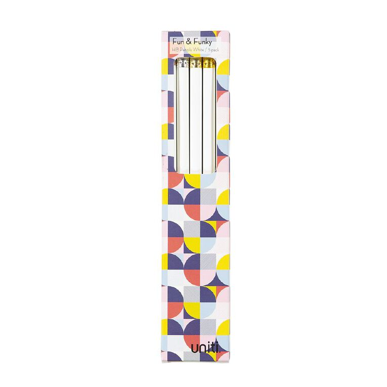 Uniti Geo Pencils 5 Pack White, , hi-res