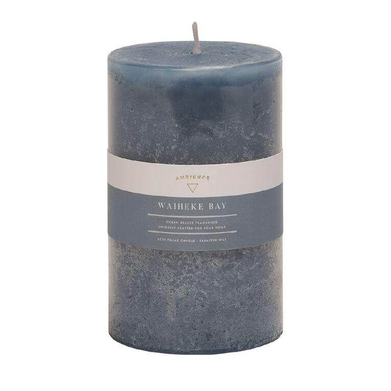 Living & Co Ambience Pillar Candle Waiheke Bay Blue 6cm x 10cm, Blue, hi-res