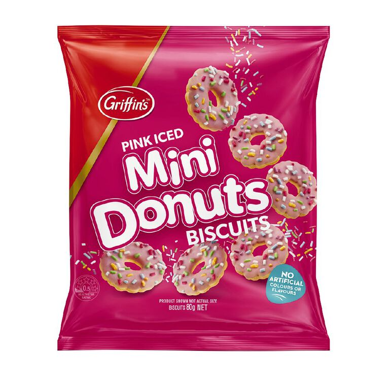 Griffin's Mini Donuts Biscuits Pink Iced 80g, , hi-res
