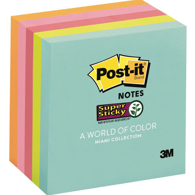 Post-It Super Sticky Notes Miami Collection 5 Pack, , hi-res