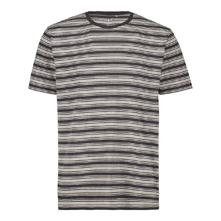 H&H Men's Crew Neck Short Sleeve Stripe Tee, Grey Light, hi-res
