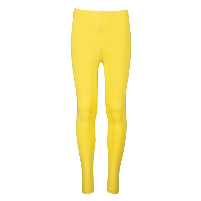 Young Original Girls' Coloured Leggings, Yellow Mid, hi-res