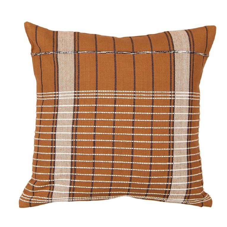 Living & Co Jacquard Cushion Brown 45cm x 45cm, Brown, hi-res