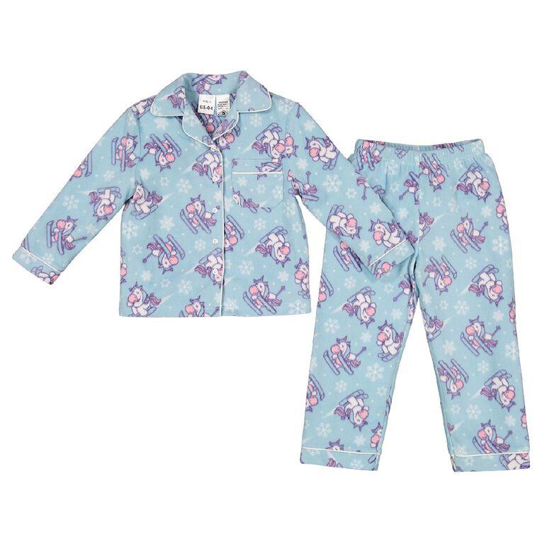 H&H Girls' Fleece Pyjamas, Blue Mid, hi-res