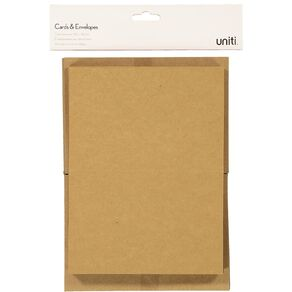 Uniti Cards & Envelopes Kraft 50 Pack