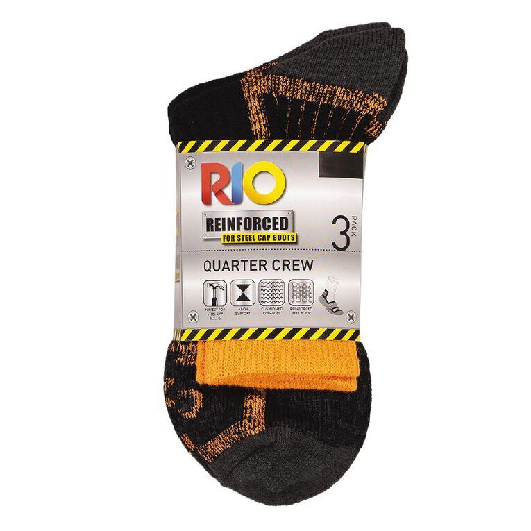 Rio Men's Quarter Crew Work Sock 3 Pack, Black/Orange, hi-res
