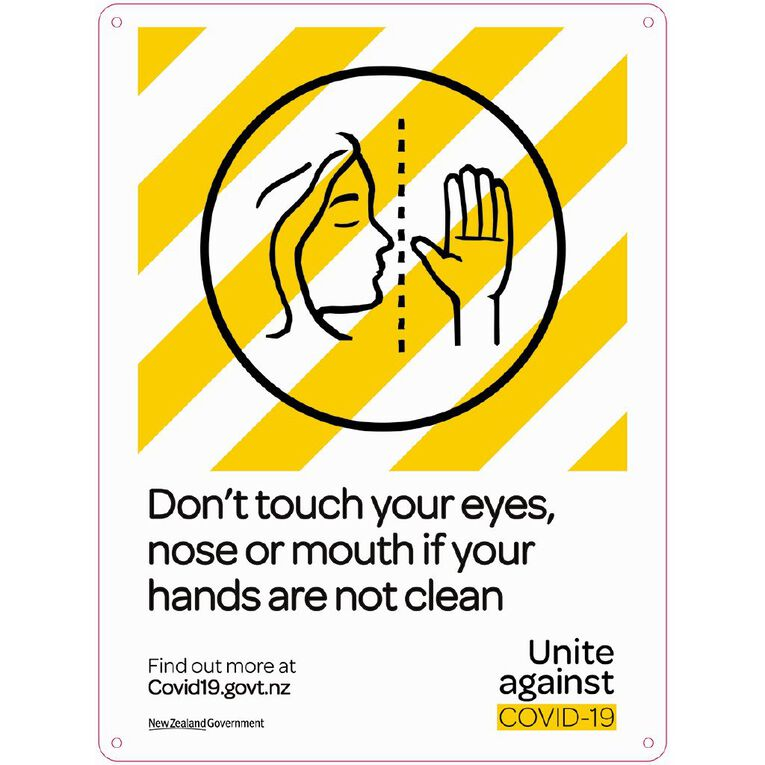 WS COVID Sign DON'T TOUCH EYES NOSE OR MOUTH, , hi-res