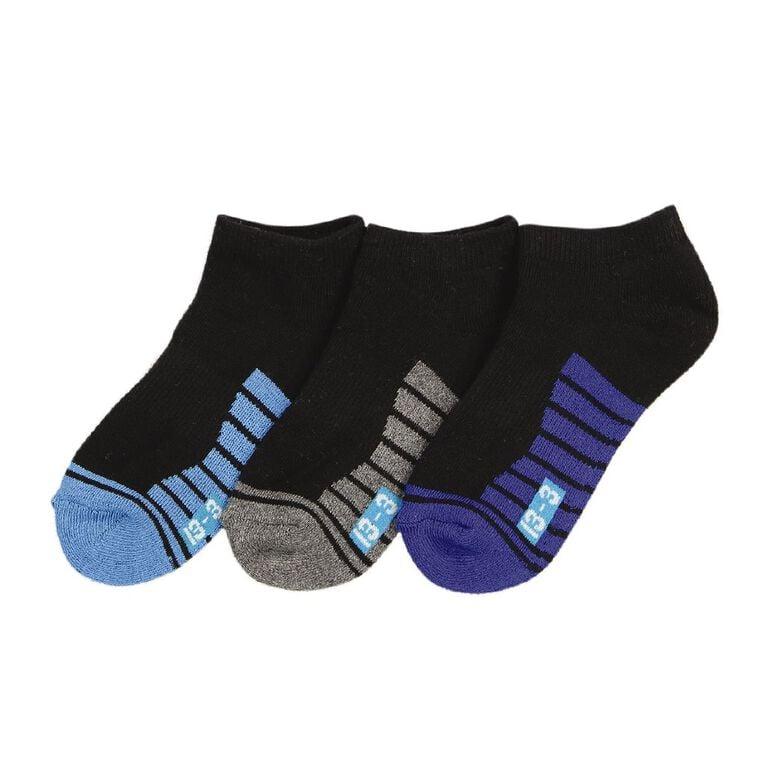 Underworks Kids' Low Cut Sport Socks 3 Pack, Black, hi-res