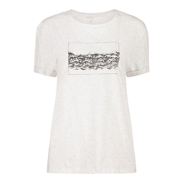 H&H Women's Printed Cuff Detail Tee, Grey, hi-res