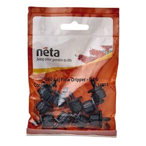 Neta Micro Irrigation Adjustable Flow Dripper-Barb 360 Degree 10 Pack