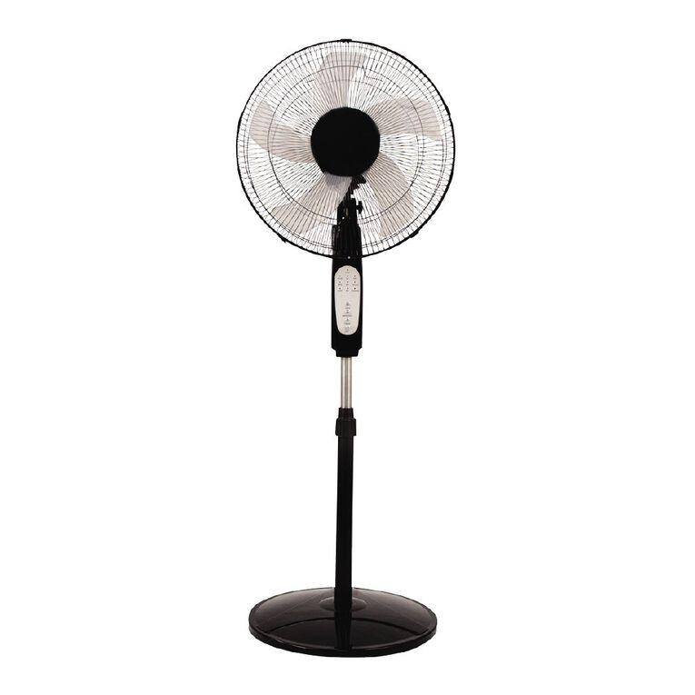 Living & Co Pedestal Fan with Timer and Remote 40cm Black, , hi-res